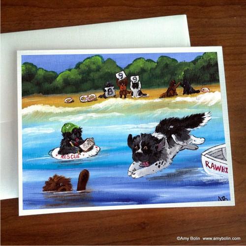 """Water Rescue 101"" Black, Brown, Landseer Newfoundland Note Cards"