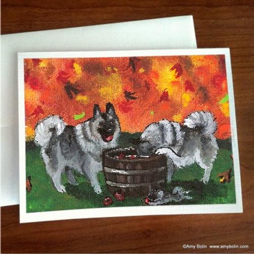 """Bobbing For Apples"" Norwegian Elkhound Note Cards"