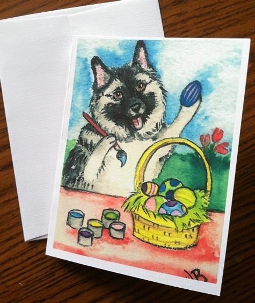 """""""Easter Egg Artist"""" Norwegian Elkhound Note Cards"""