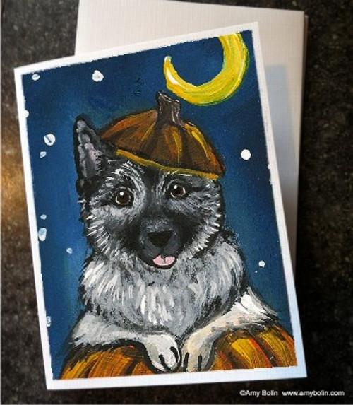 """""""Halloween: Happy Howloween"""" Norwegian Elkhound Note Cards"""