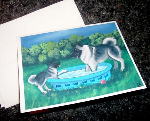 """Summer's Simple Pleasures"" Norwegian Elkhound Note Cards"