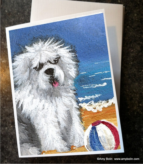 """Beach Bum"" Old English Sheepdog Note Cards"