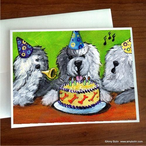"""Birthday: Happy Birthday To You"" Old English Sheepdog Note Cards"