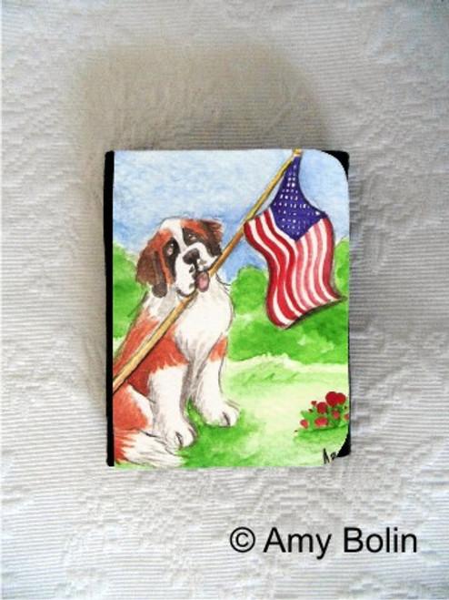 """Proud To Be American"" Saint Bernard Small Organizer Wallet"