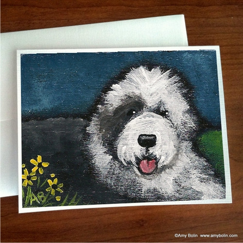 """""""Toby"""" Old English Sheepdog Note Cards"""