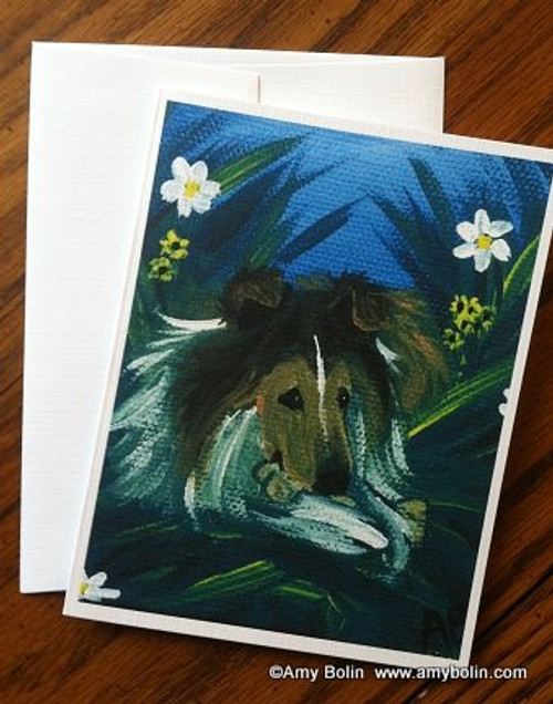 """A Secret Treat"" Sable Shetland Sheepdog Note Cards"