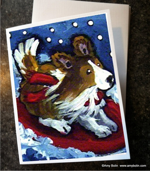 """A Snowy Ride"" Sable Shetland Sheepdog Note Cards"