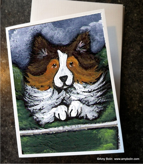 """Agility Queen"" Sable Shetland Sheepdog Note Cards"