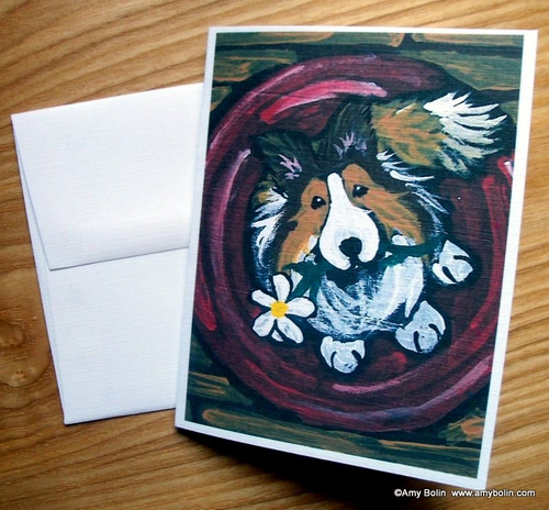 """Be Mine"" Sable Shetland Sheepdog Note Cards"