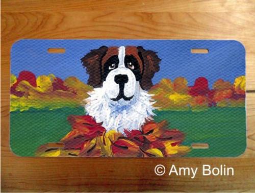 """Autumn's Simple Pleasures 3"" Saint Bernard License Plate"