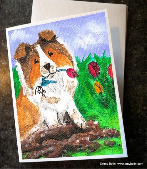 """""""Little Gardener"""" Sable Shetland Sheepdog Note Cards"""