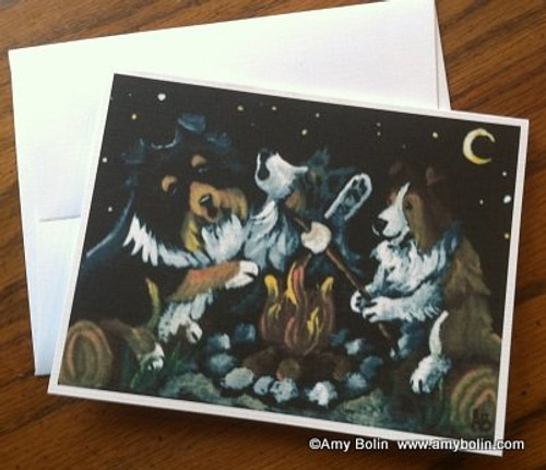 """""""Shelties Around The Campfire"""" Blue Merle, Sable, Tri Color Shetland Sheepdog Note Cards"""