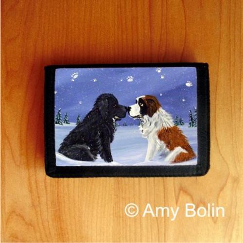 """""""A Cold, Wet Hello"""" Black Newfoundland & Saint Bernard Trifold Wallet"""