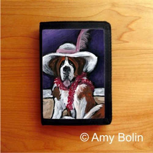 TRIFOLD WALLET · ALL DRESSED UP WITH NOWHERE TO GO  ·  SAINT BERNARD · AMY BOLIN