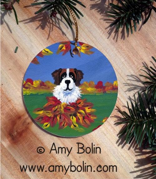 """""""Autumn's Simple Pleasures"""" Saint Bernard Ceramic Ornament Round"""