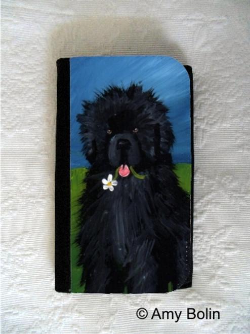 """A Flower For Mom"" Black Newfoundland Large Organizer Wallet"