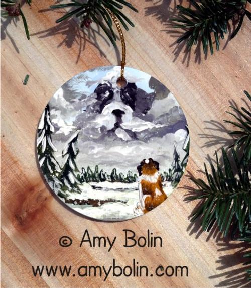 """First Snow"" Saint Bernard Ceramic Ornament Round"