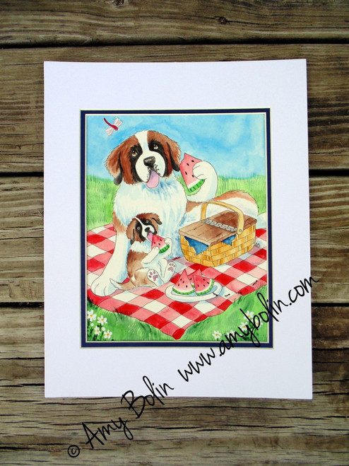 """The Sweet Taste Of Summer"" Saint Bernard dog & puppy Original ART Watercolor Painting 8"" by 10"" with mat to fit 11"" by 14"" frame Artist Amy Bolin"
