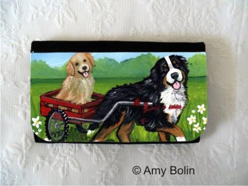 """Traveling Buddies"" Bernese Mountain Dog & Golden Retriever Large Organizer Wallet"