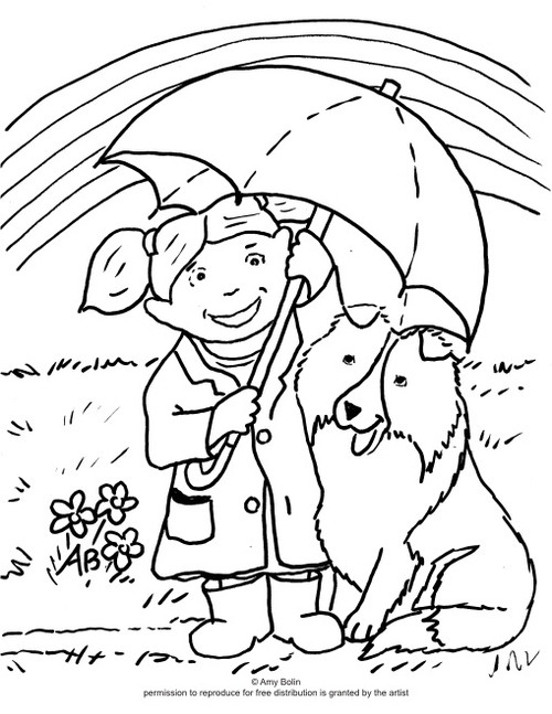 "FREE COLORING SHEET DOWNLOAD · ""April's Showers"" · SHELTIE · AMY BOLIN"