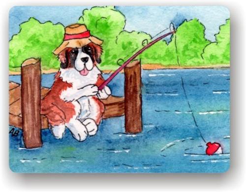 """Gone Fishing"" Saint Bernard Magnet"