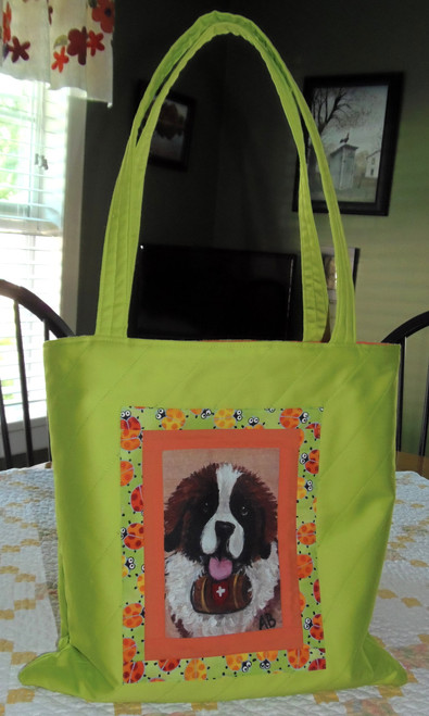 "Handmade quilted Purse  ""'My First Barrel""   Saint Bernard   By Dawn Johnson"