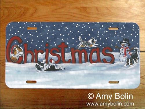 """A Christmas Celebration"" Bi Black, Bi Blue, Blue Merle, Sable, Tri Color Shetland Sheepdog License Plate"