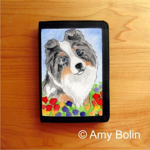 """Puppy Love"" Blue Merle Shetland Sheepdog Trifold Wallet"