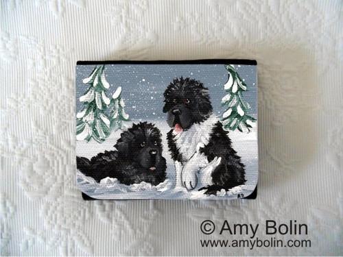 """Winter Buddies"" Black, Landseer Newfoundland Small Organizer Wallet"