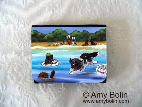 """Water Rescue 101"" Black, Brown, Landseer Newfoundland Small Organizer Wallet"