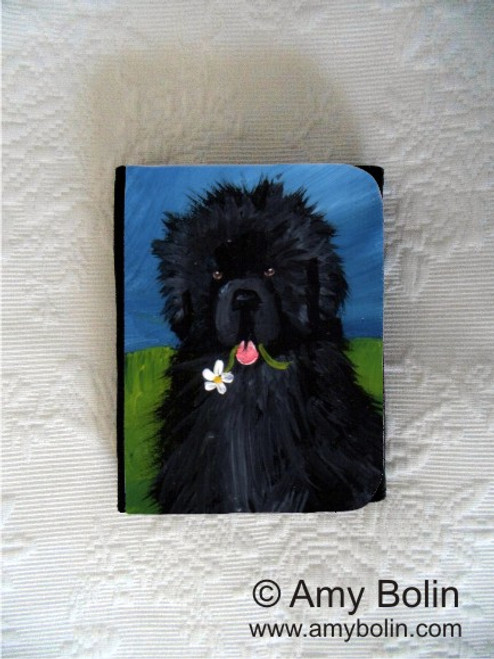 """A Flower For Mom"" Black Newfoundland Small Organizer Wallet"