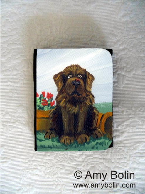 """A Little Visitor"" Brown Newfoundland Small Organizer Wallet"