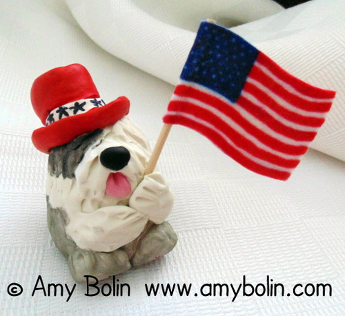 """""""Love of Country"""" Old English Sheepdog · PUDGIE · 2 Inch Mini Sculpture by Amy Bolin One Of A Kind!"""