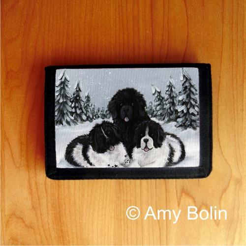 """Winter Buddies 2"" Black, Landseer Newfoundland Trifold Wallet"