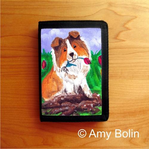 """""""Little Gardener"""" Sable Shetland Sheepdog Trifold Wallet"""