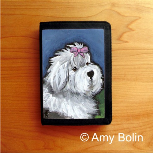 TRIFOLD WALLET · ALL GUSSIED UP · OLD ENGLISH SHEEPDOG · AMY BOLIN