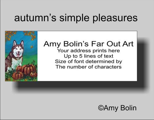 """Autumn's Simple Pleasures"" Siberian Husky Address Labels"