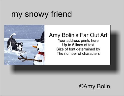 """My Snowy Friend"" Siberian Husky (black) (blue eye) Address Labels"