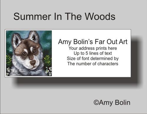 """Summer In The Woods"" Siberian Husky (brown eye) Address Labels"