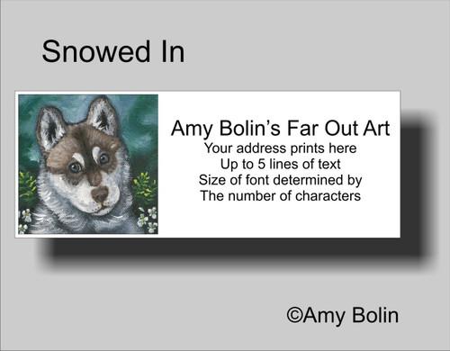 """Summer In The Woods"" Siberian Husky (blue eye) Address Labels"