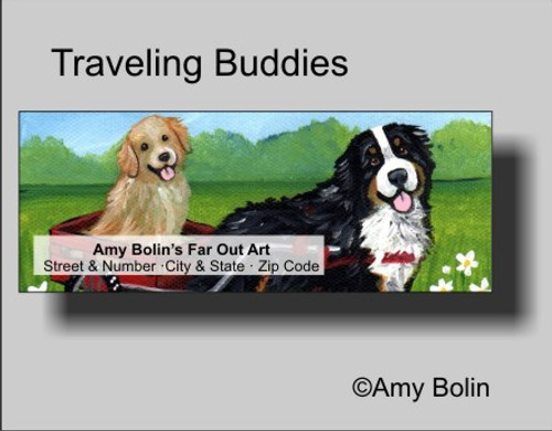 """Traveling Buddies"" Bernese Mountain Dog, Golden Retriever Address Labels"