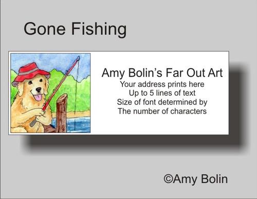 """Gone Fishing"" Golden Retriever Address Labels"