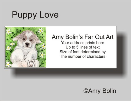 """""""Puppy Love"""" Great Pyrenees Address Labels"""