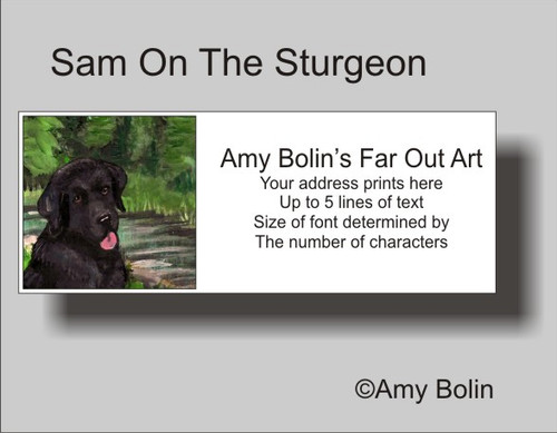 """Sam On The Sturgeon"" Black Labrador Retriever Address Labels"