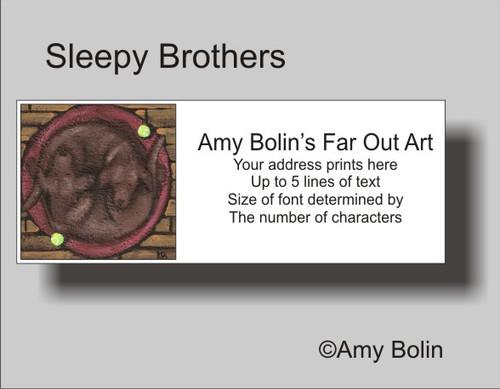 """Sleepy Brothers"" Chocolate Labrador Retriever Address Labels"