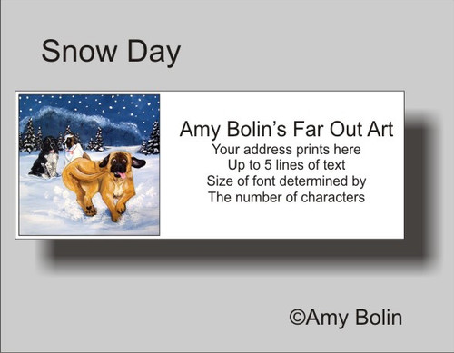 """Snow Day"" Mastiff, Newfoundland, Saint Bernard Address Labels"