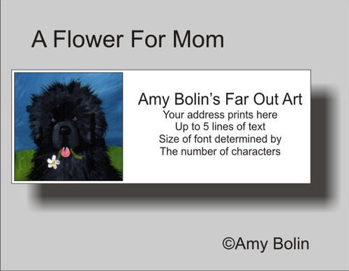 """A Flower For Mom"" Black Newfoundland Address Labels"