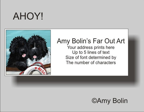 """Ahoy!"" Black, Landseer Newfoundland Address Labels"