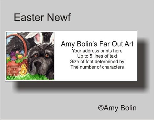"""""""Easter Newf"""" Black Newfoundland Address Labels"""