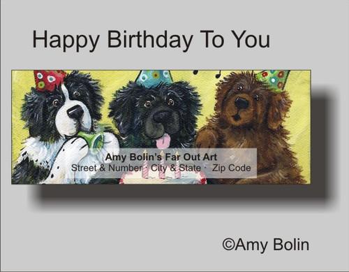 """Birthday: Happy Birthday To You"" Black, Brown, Landseer Newfoundland Address Labels"